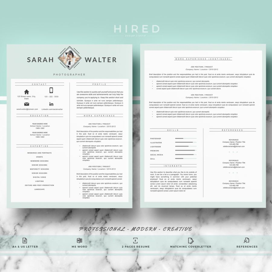 Modern Resume Template For Ms Word Sarah  Modern Resume