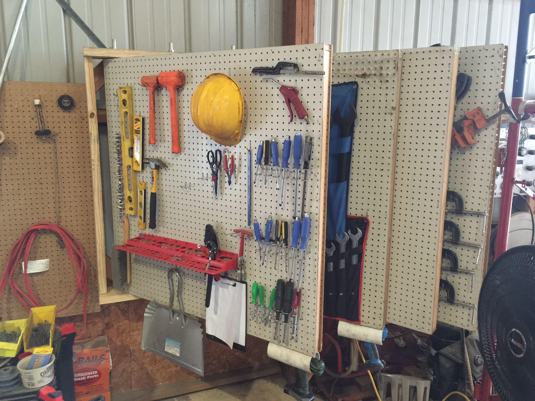 swinging peg board 32u0027 of peg board taking up only 4u0027 of wall space - Peg Boards