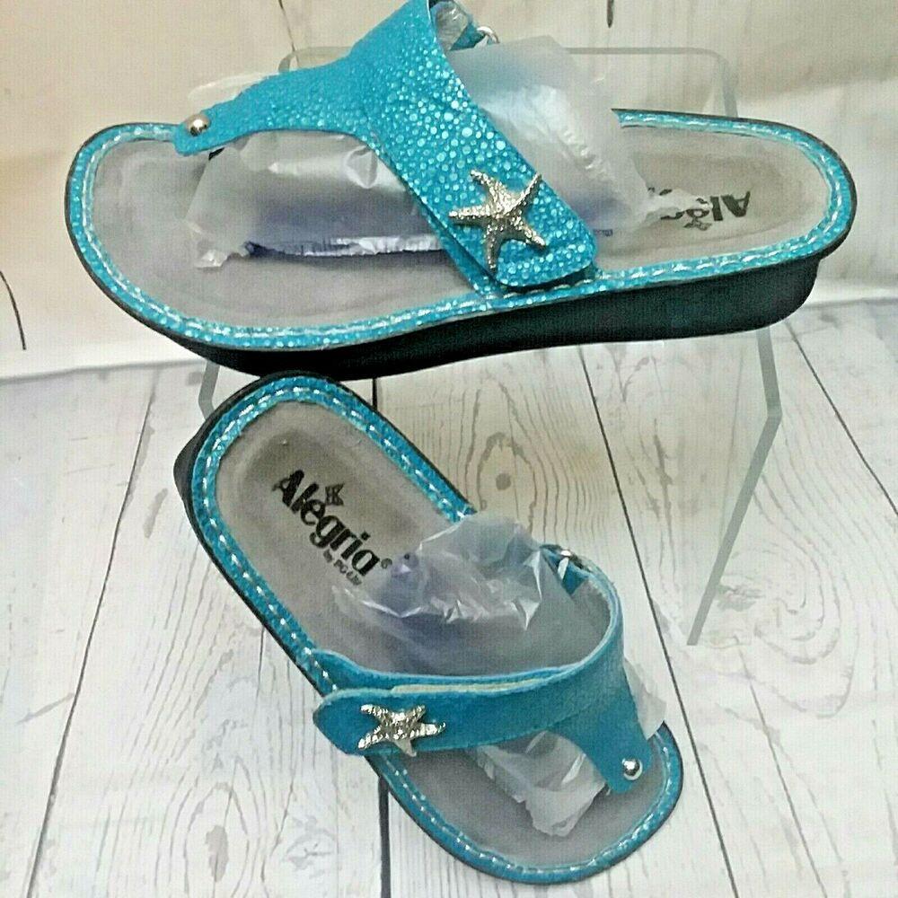 27b8e321db00be ALEGRIA Carina Turquoise Starfish Wedge Thong Sandals Women Size US 10M EU  40  Alegria