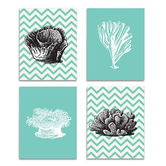 Chevron C Series Turquoise And Darlk Gray Wall Art Home Decor Set Of