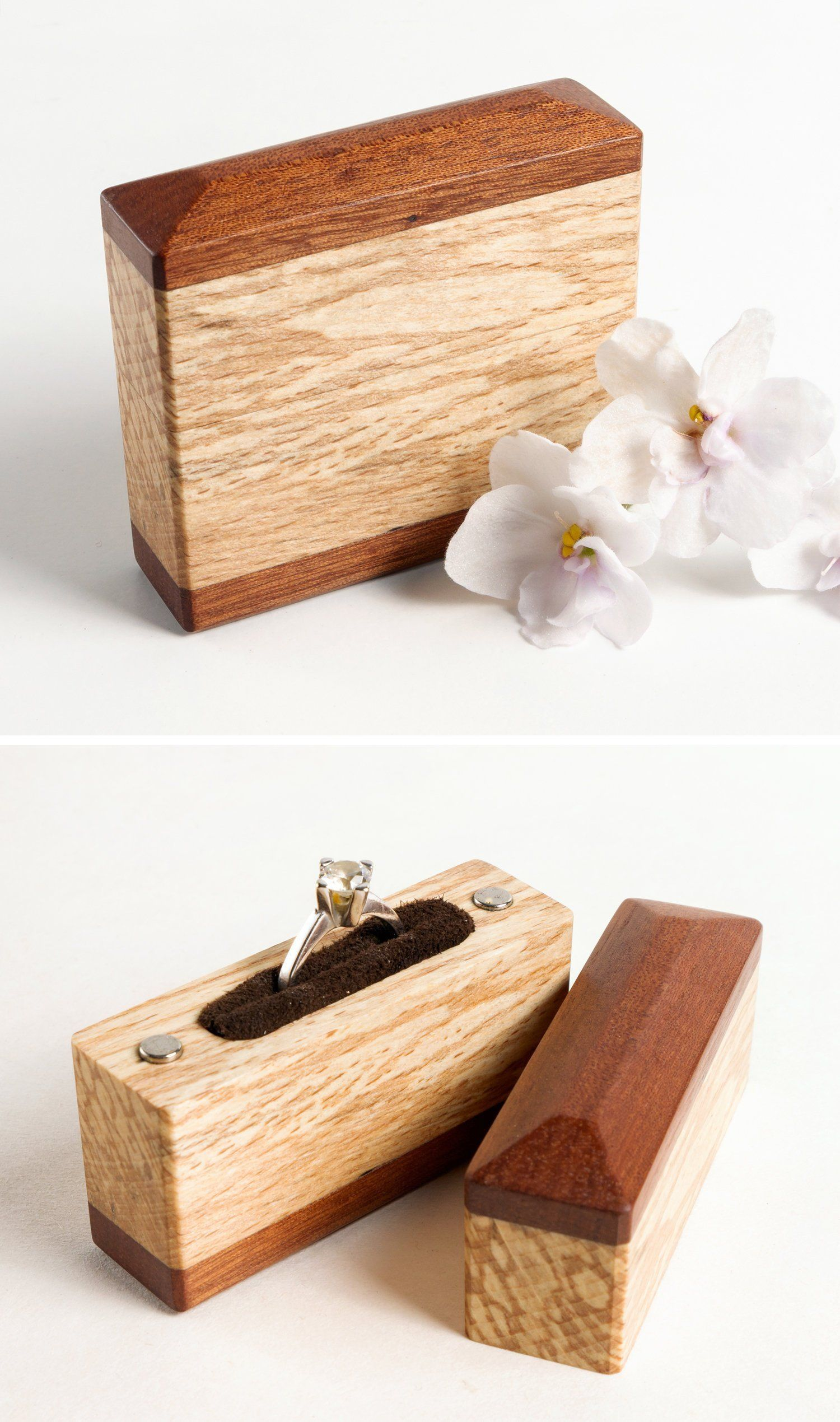 Red Ring Bearers Box Vintage Wedding Jewelry Box Wood Up-Cycled Home Decor Rustic Wedding READY TO SHIP Eco-Friendly Gift