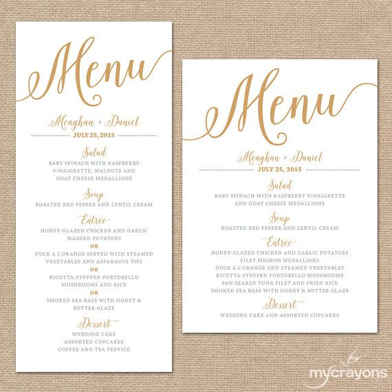 Gold Wedding Menu Card, Printable Wedding Menu // Bella Script Diy
