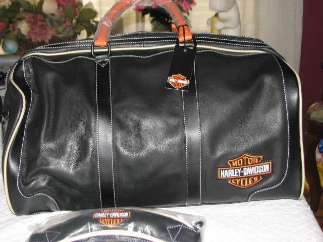 harley davidson black leather duffle bag carry on gym bag luggage