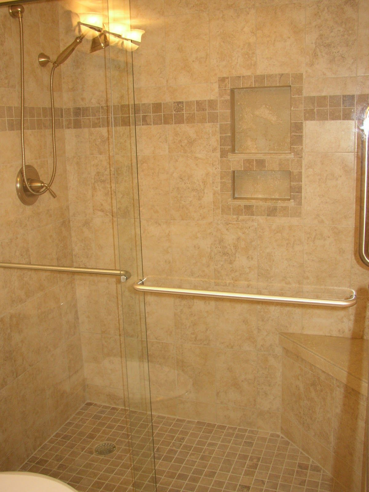 Bathroom tile recessed shower niche installation with tile layout ...