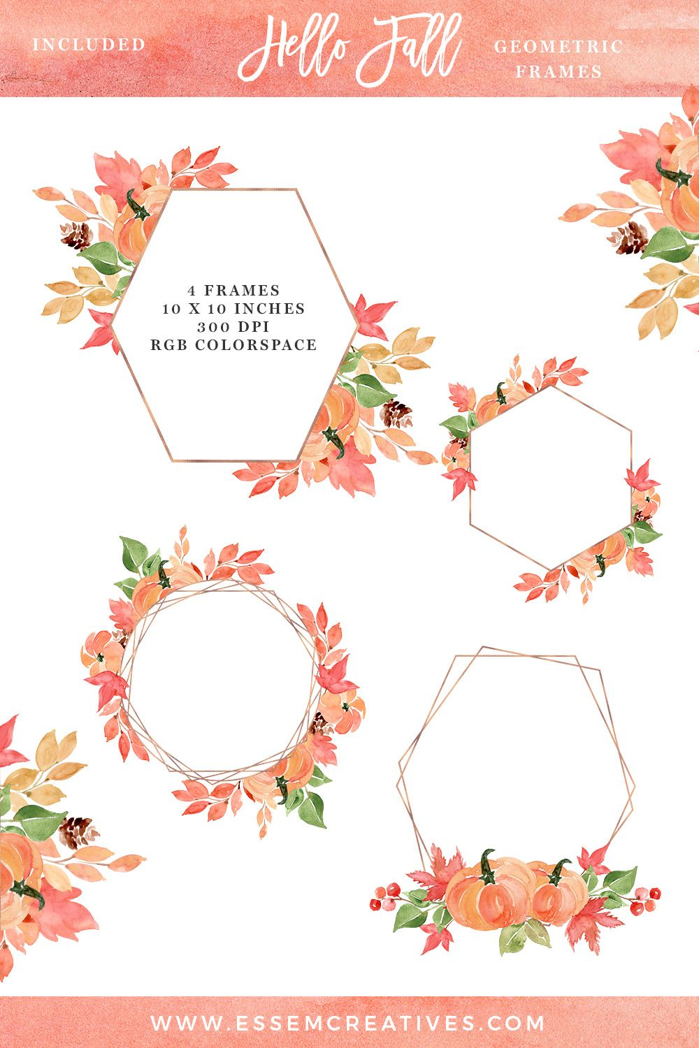 Watercolor Fall Leaves Geometric Frames Clipart Graphics Png For