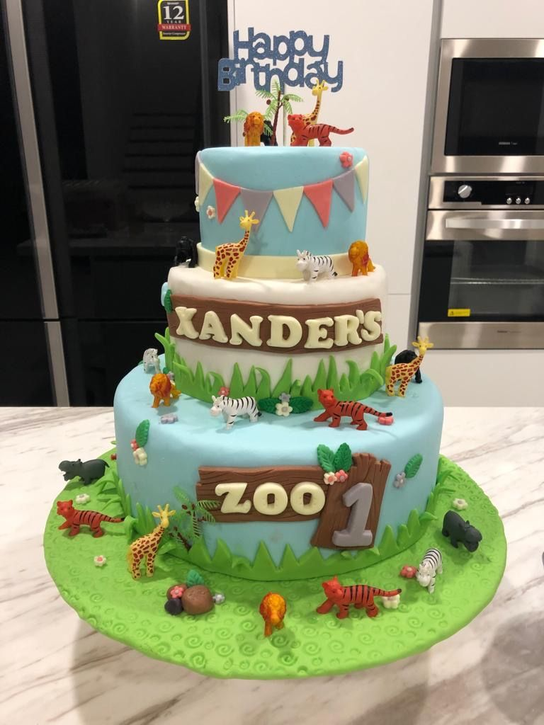 Outstanding Baby Boy Birthday Cake 1 Year Old Zoo Animal Theme Baby Boy Funny Birthday Cards Online Sheoxdamsfinfo