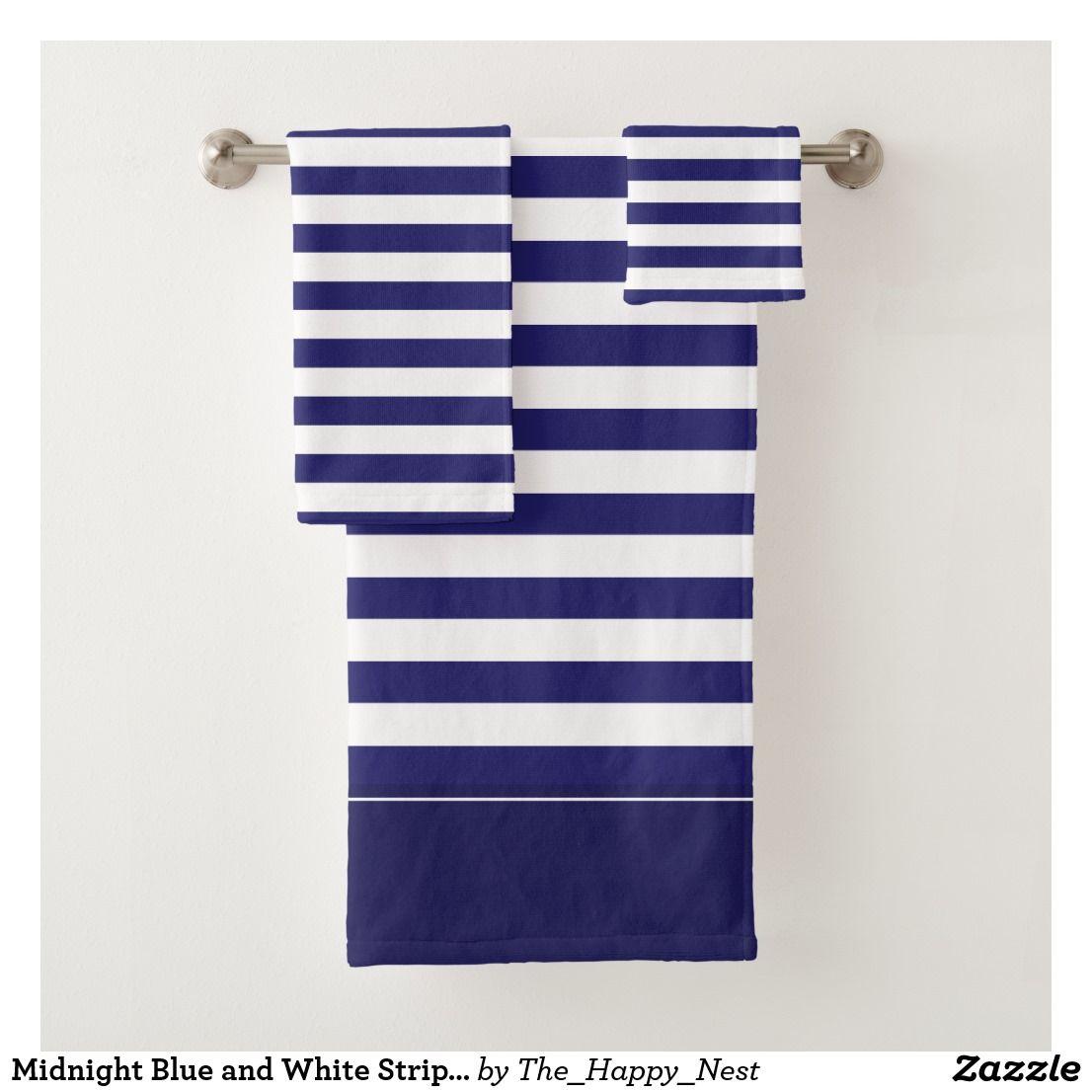 Midnight Blue And White Striped Bath Towel Set Zazzle Com Bath