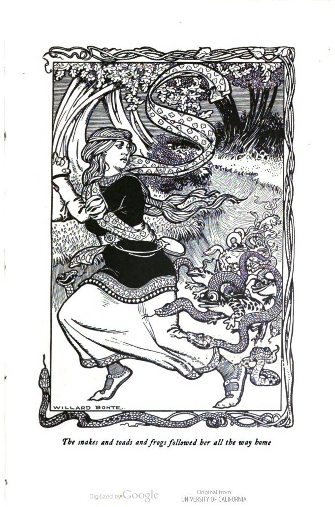 """The snakes and toads and frogs followed her all the way home."" Willard Bonte for The Oak-Tree Fairy Book; Favorite Fairy Tales, ed. by Clifton Johnson. #illustration"