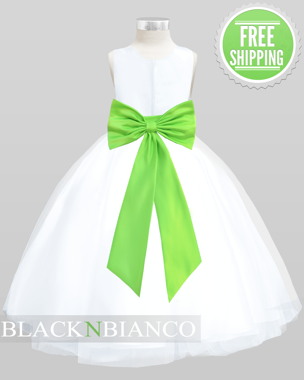 9932c7740 Black N Bianco - White Sleeveless Satin Flower Girl Dress w/ Vibrant Lime  Green Bow
