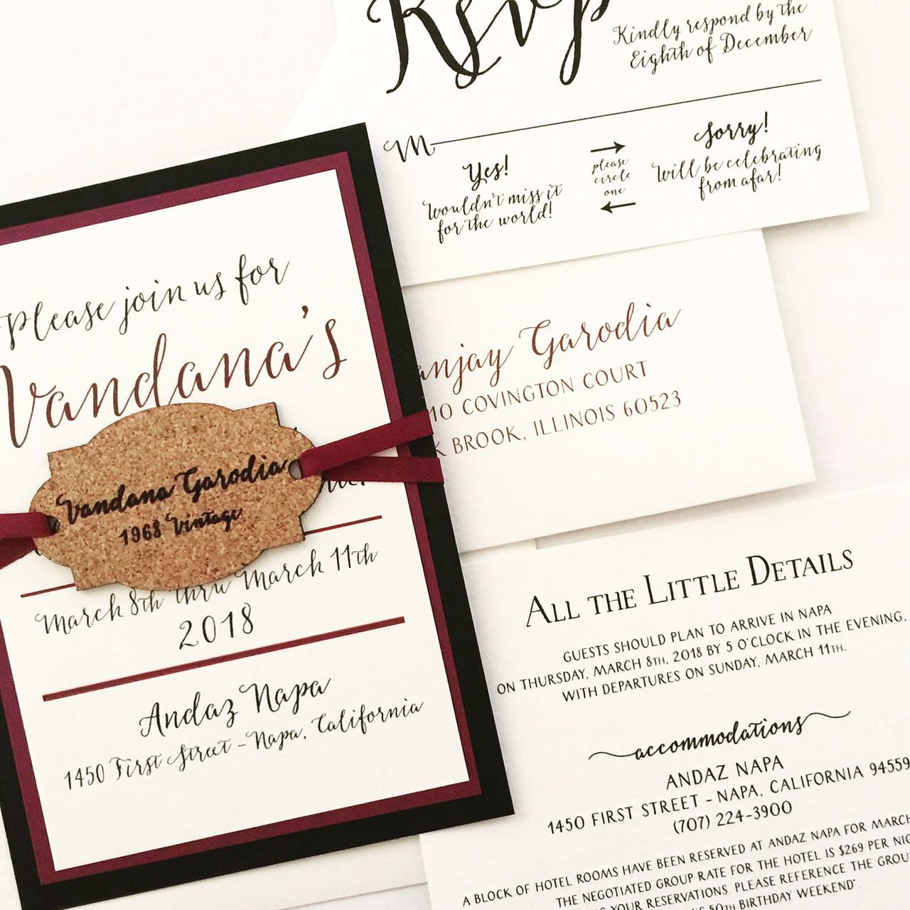 Winery Invitation with Wine Cork Hangtag - SAMPLE | Winery Wedding ...