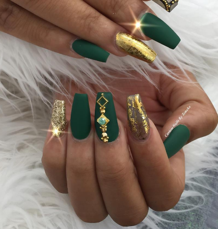 forest green with gold glitter foil and gold studs in 2019