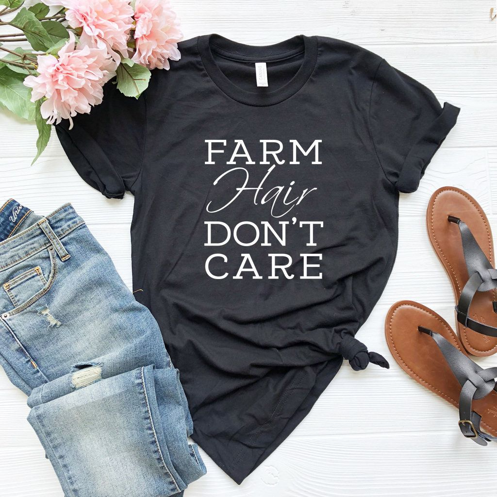 Farm Hair Don't Care T-Shirt Farmer Shirt Farming Shirt | Etsy