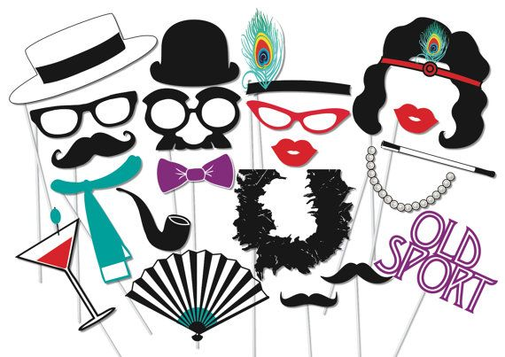 Roaring 20s Photobooth Party Props Set 40 Piece Printable