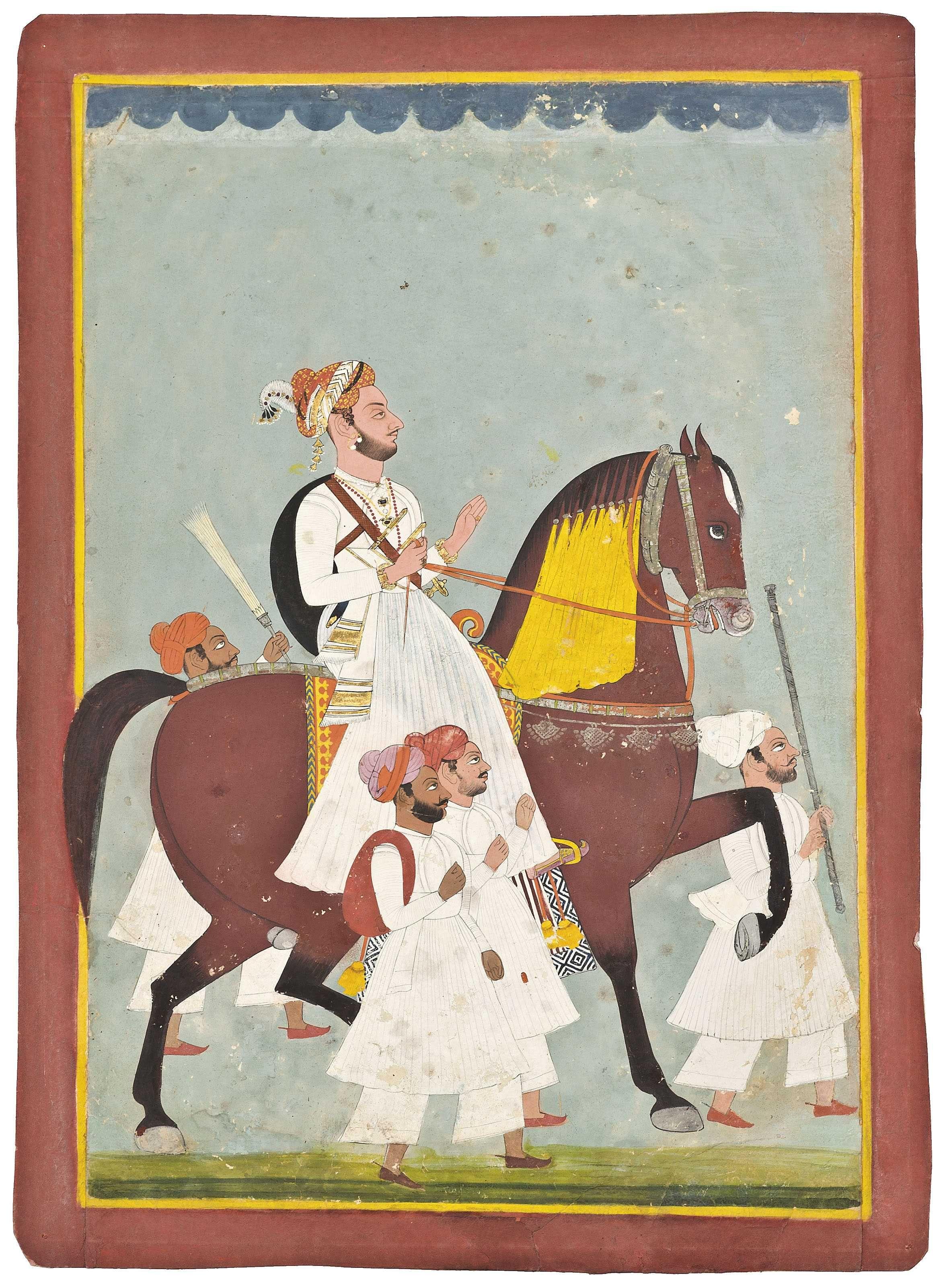 A large equestrian portrait of a rajput ruler indian art
