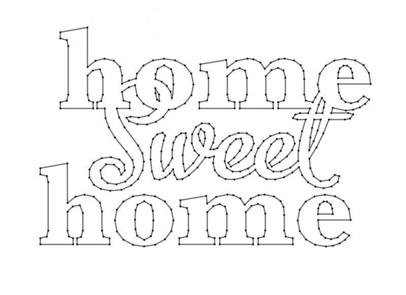 home sweet home spijkerschriften muurteksten string art spijkerteksten spijkerpatronen. Black Bedroom Furniture Sets. Home Design Ideas