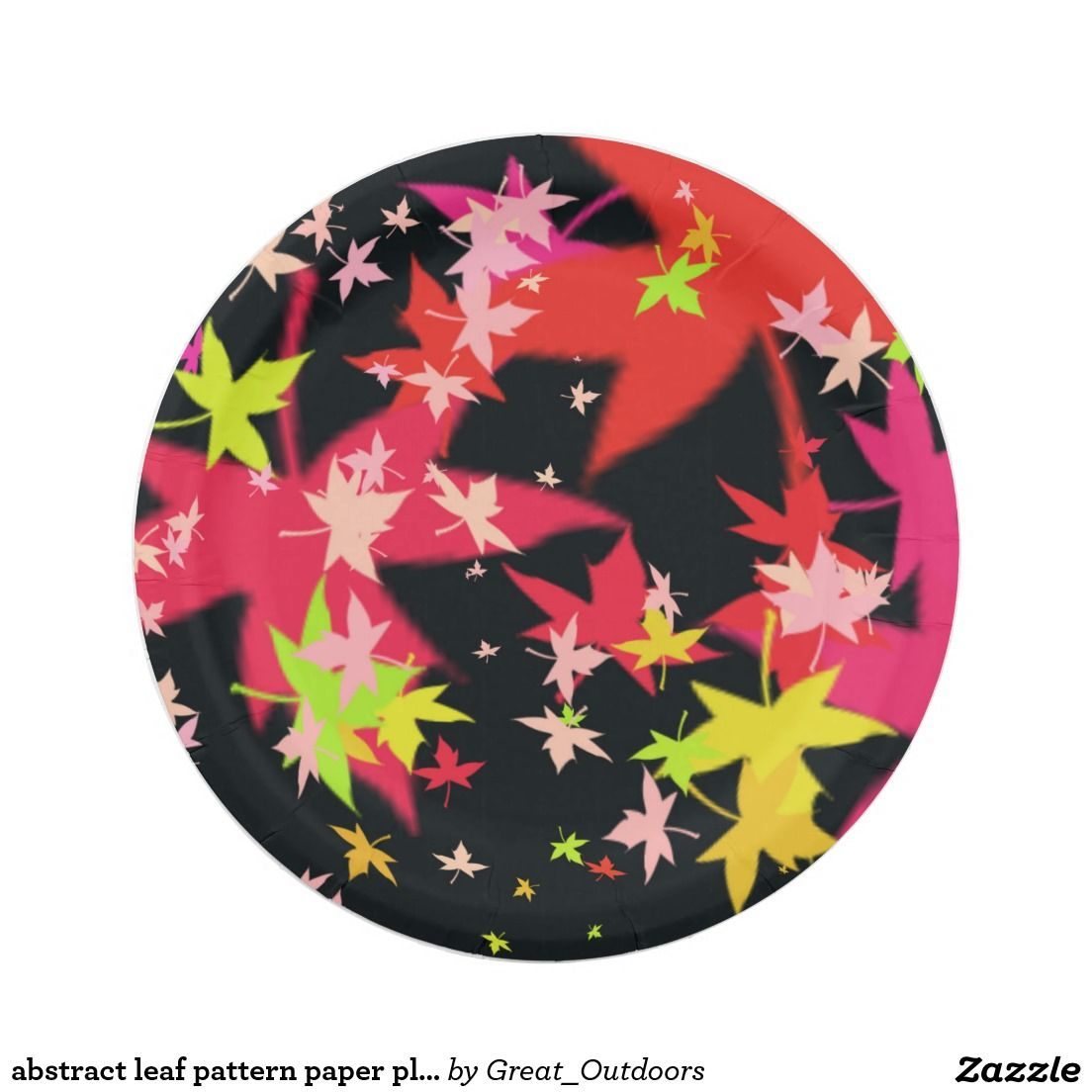 abstract leaf pattern paper plates