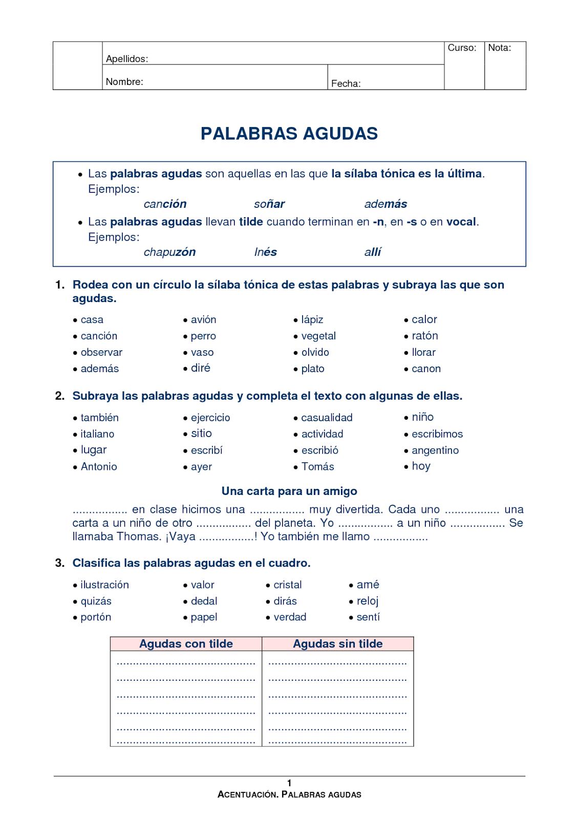 *MIS COSAS DE MAESTRA*: PALABRAS AGUDAS: ¿Qué son? y ...