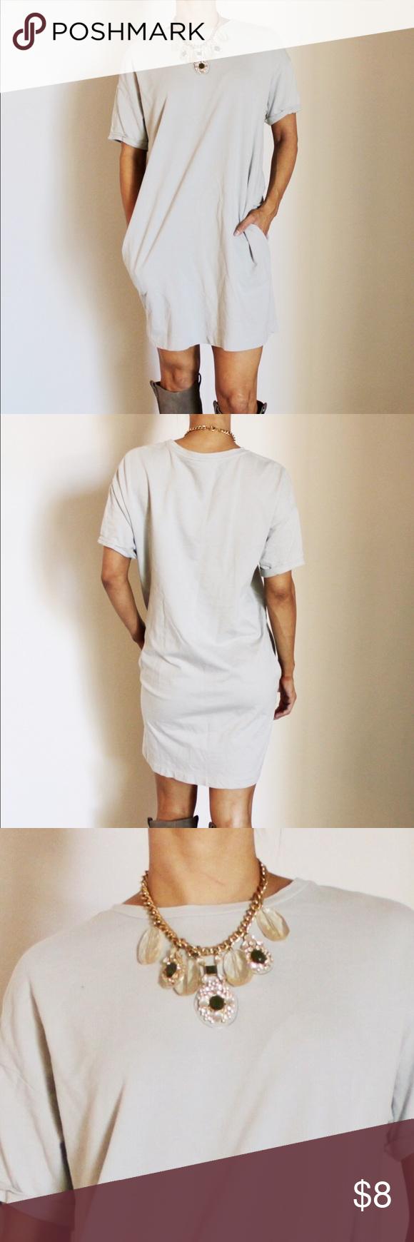 Grey zara shortsleeved tshirt dress