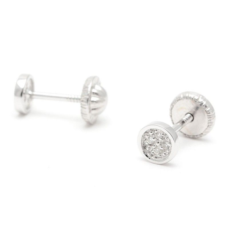 53071306e7a5 Pendientes Oro Blanco Chico Bebé Niña Infantil Rosca Círculo Diamante