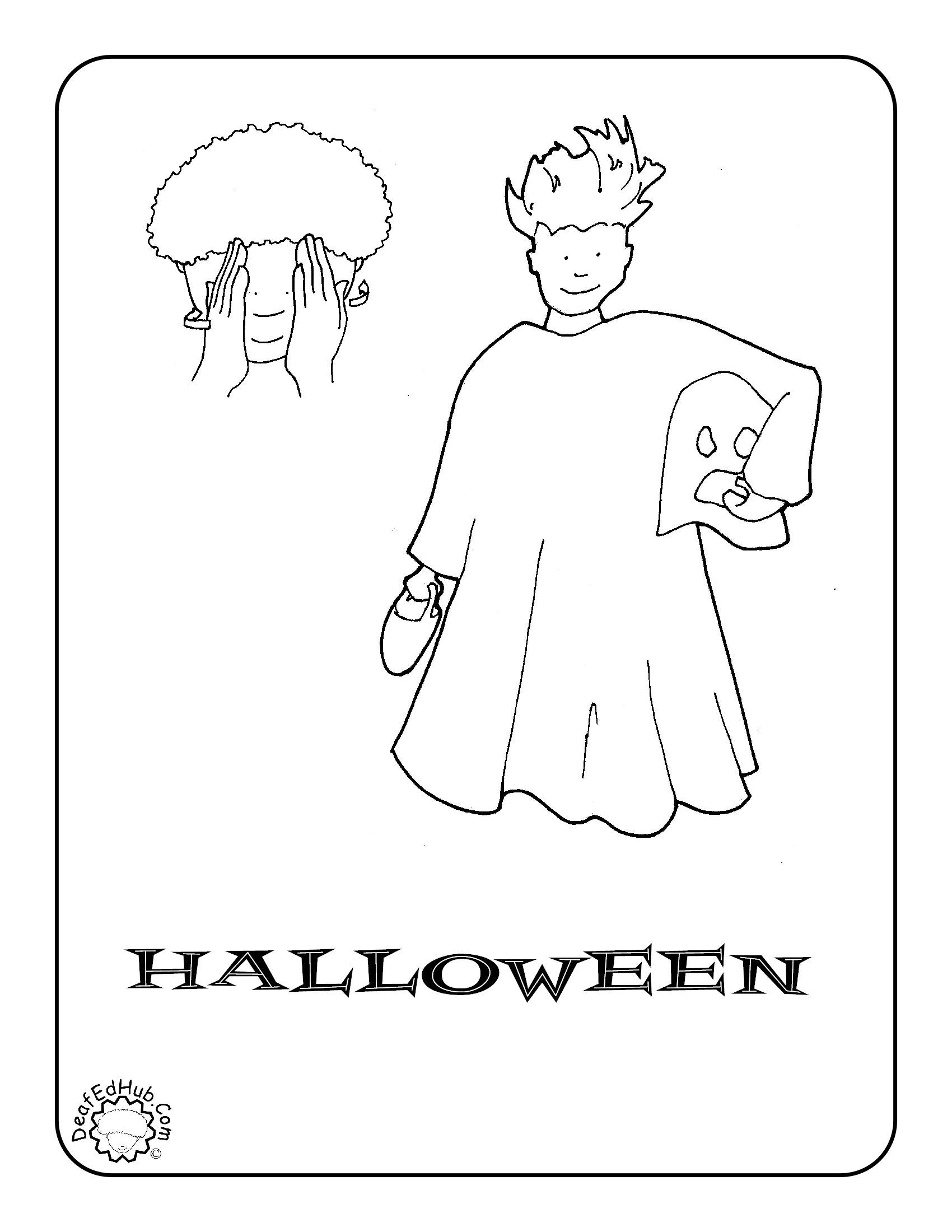 Superb Halloween ASL Coloring Page