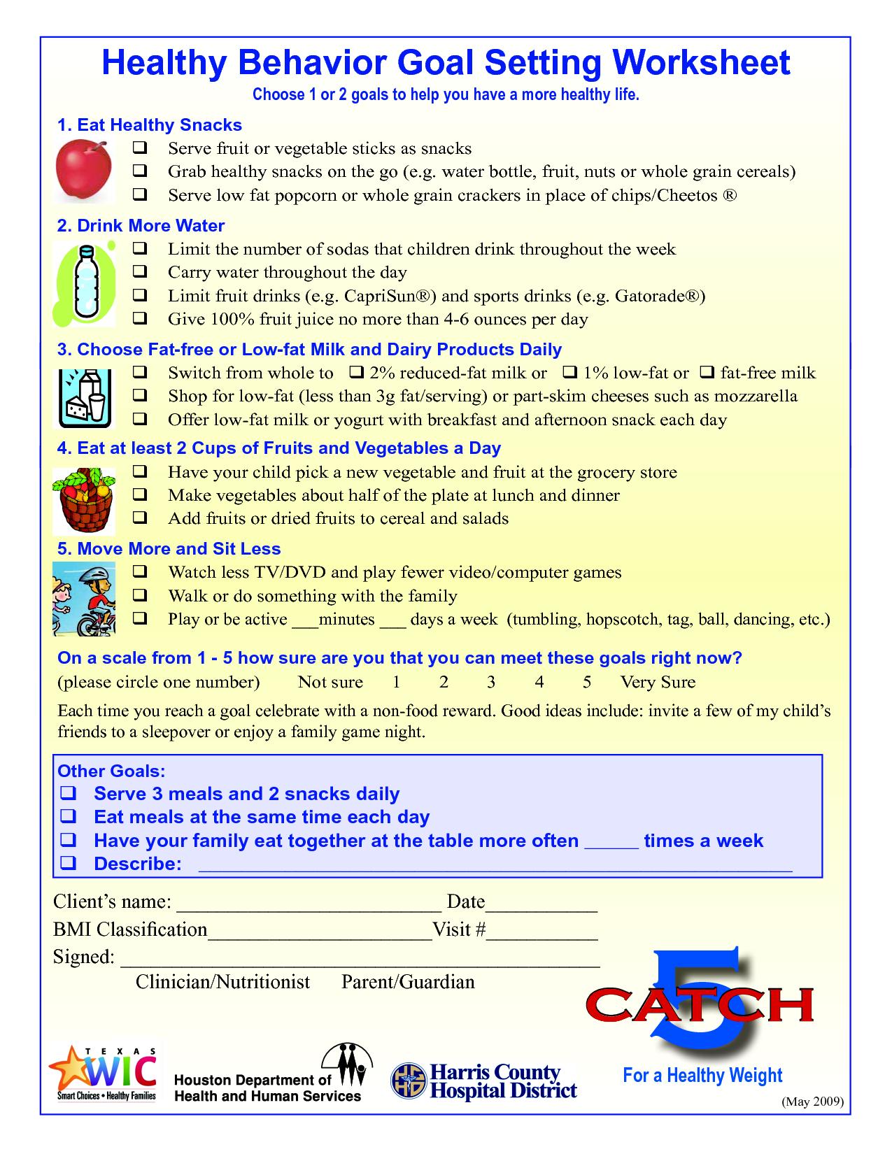 Wellness Goals Worksheets