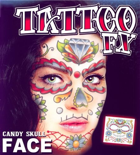 00954ded5 DAY OF THE DEAD CANDY SKULL FULL FACE TEMPORARY TATTOO KIT (1) | Day ...