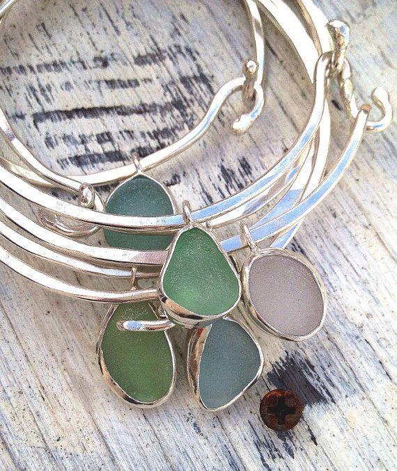 Sea Glass Bracelet, Genuine Sea Glass Jewelry, Sea Glass Pendant, Silver Bangle Bracelet, Stacking Bracelet, Bangle bracelet