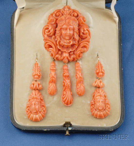 Antique Carved Coral Demi-Parurey