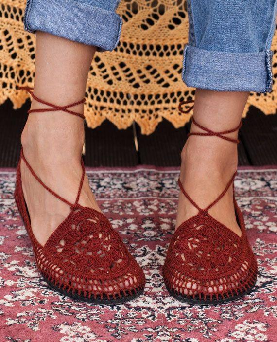 Vegano los carters Caoba por LuluduDesign en Etsy   Calzado Crochet ...
