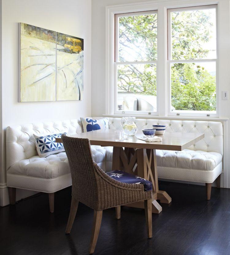 banc de cuisine avec dossier et assise capitonns tapisss de tissu blanc et