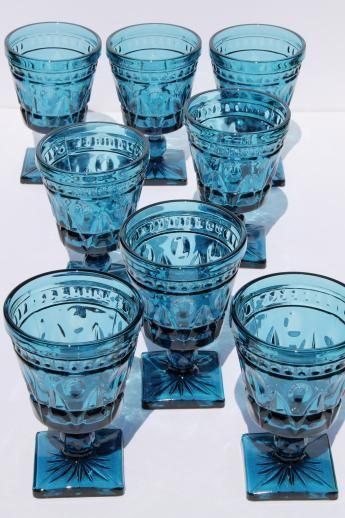 Vintage Blue Glass Water Or Wine Glasses Blue Glassware Blue