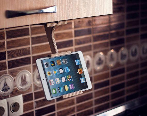 Кitchen tablet-Halter, Ipad Ständer, Küche Tablet Ständer Holz Kochbuch Stand, hd Stand, Küchenzubehör, Küche, Geschenk-Ideen zu entzünden    Elegante
