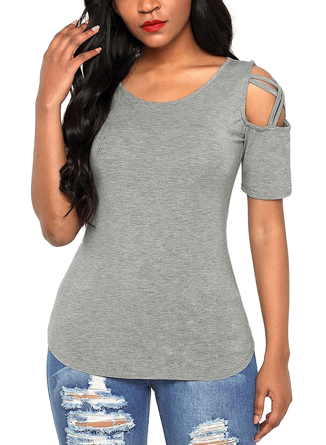 d46ac7d83346a Womens Casual Loose Cold Shoulder Tops and Blouses Basic T Shirts ...