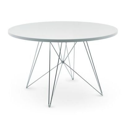 Esstisch rund weiß  Magis Tavolo XZ3 Tisch rund, weiß Gestell chrom Ø 120 cm ...