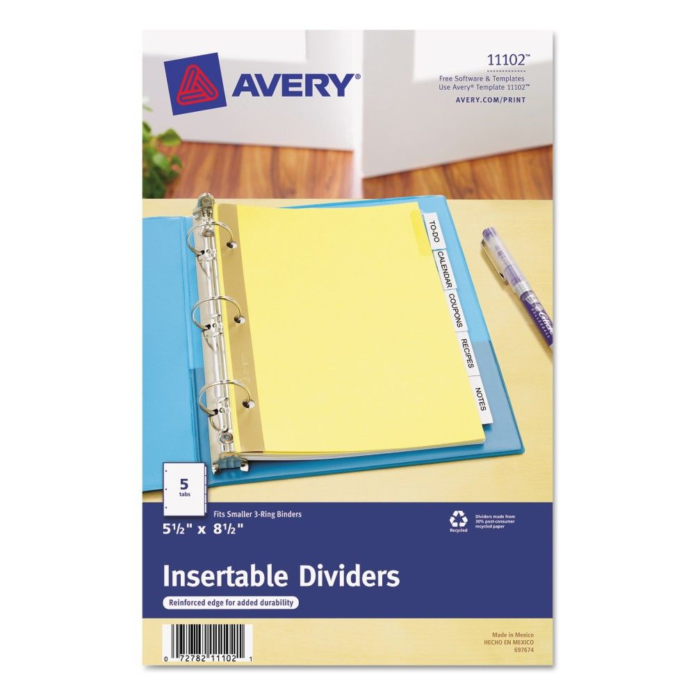 Avery WorkSaver Insertable Tab Index Dividers, 5-Tab, 8-1