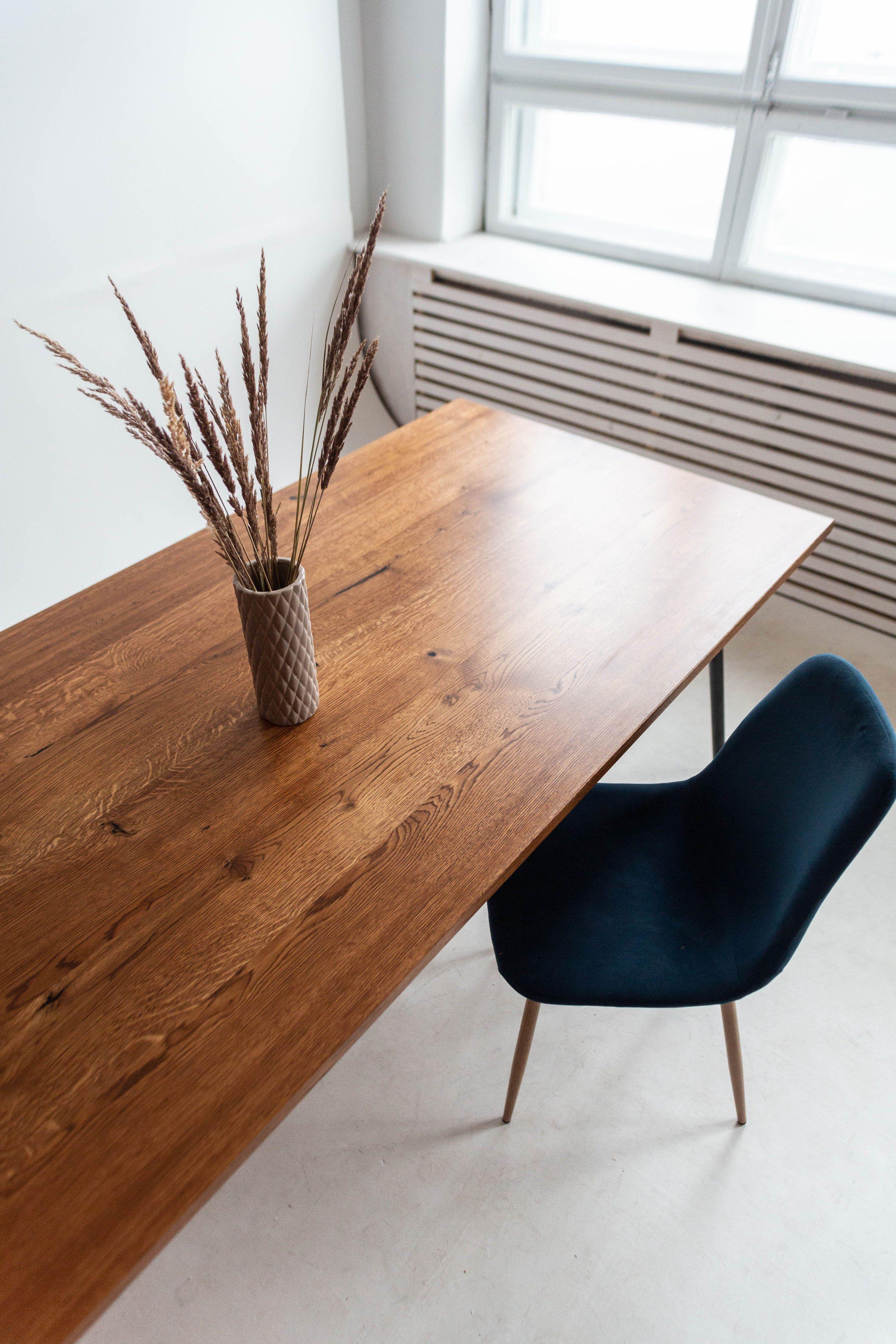 Mid Century Modern Oak Dining Table On Industrial Metal Legs