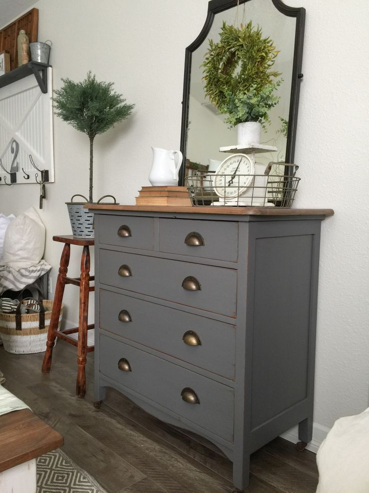 Charcoal Gray Dresser With A Sweet Little Note Painted