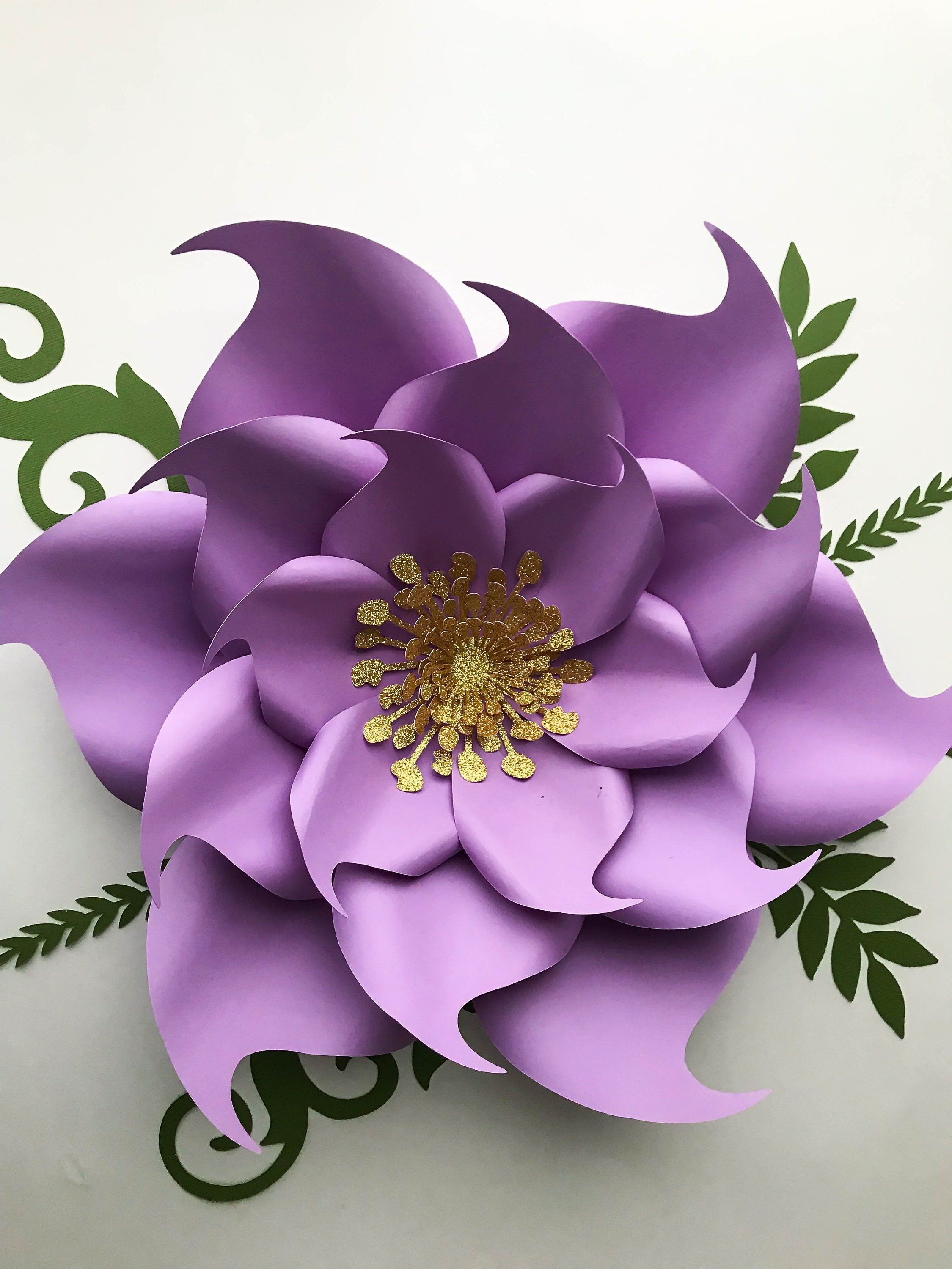 Pdf Paper Flowers Template Petal 9 With Base Flat Center Digital
