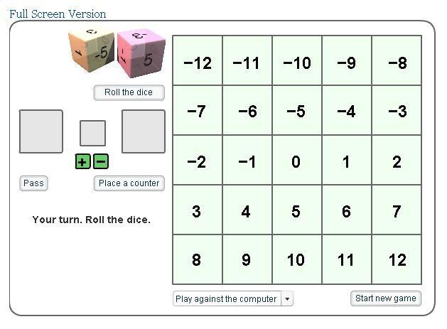 Connect Three Integer Game Integer Games Math Integers Integers Adding integer worksheets grade 7