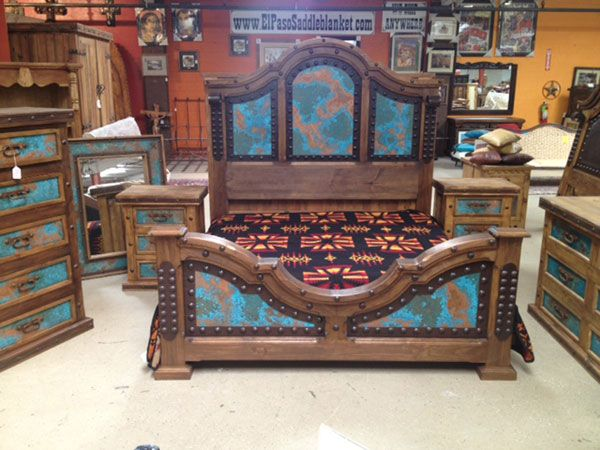 Bedroom Sets El Paso majestic and colorful, the copper turquoise bedroom set captures