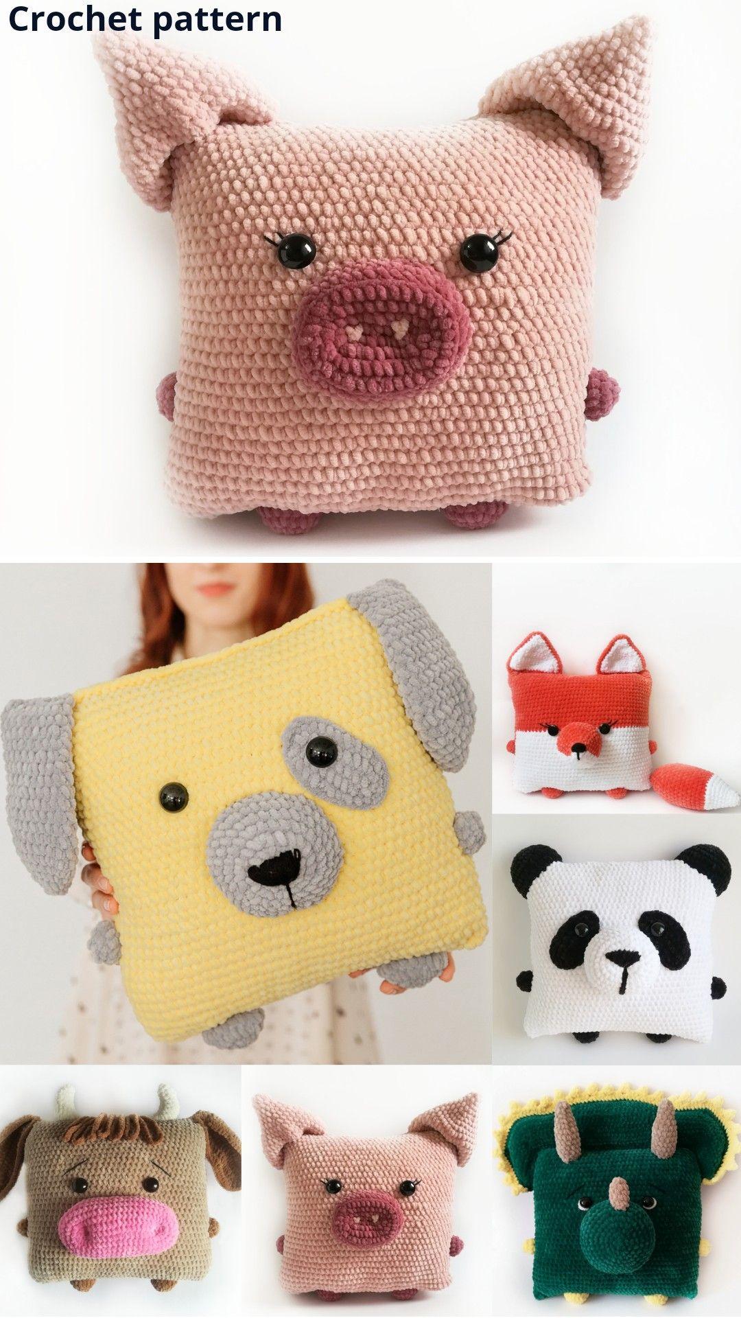 Crochet pattern animal, crochet pillow, crochet toy, amigurumi pattern toy, pet pattern, pillow toys