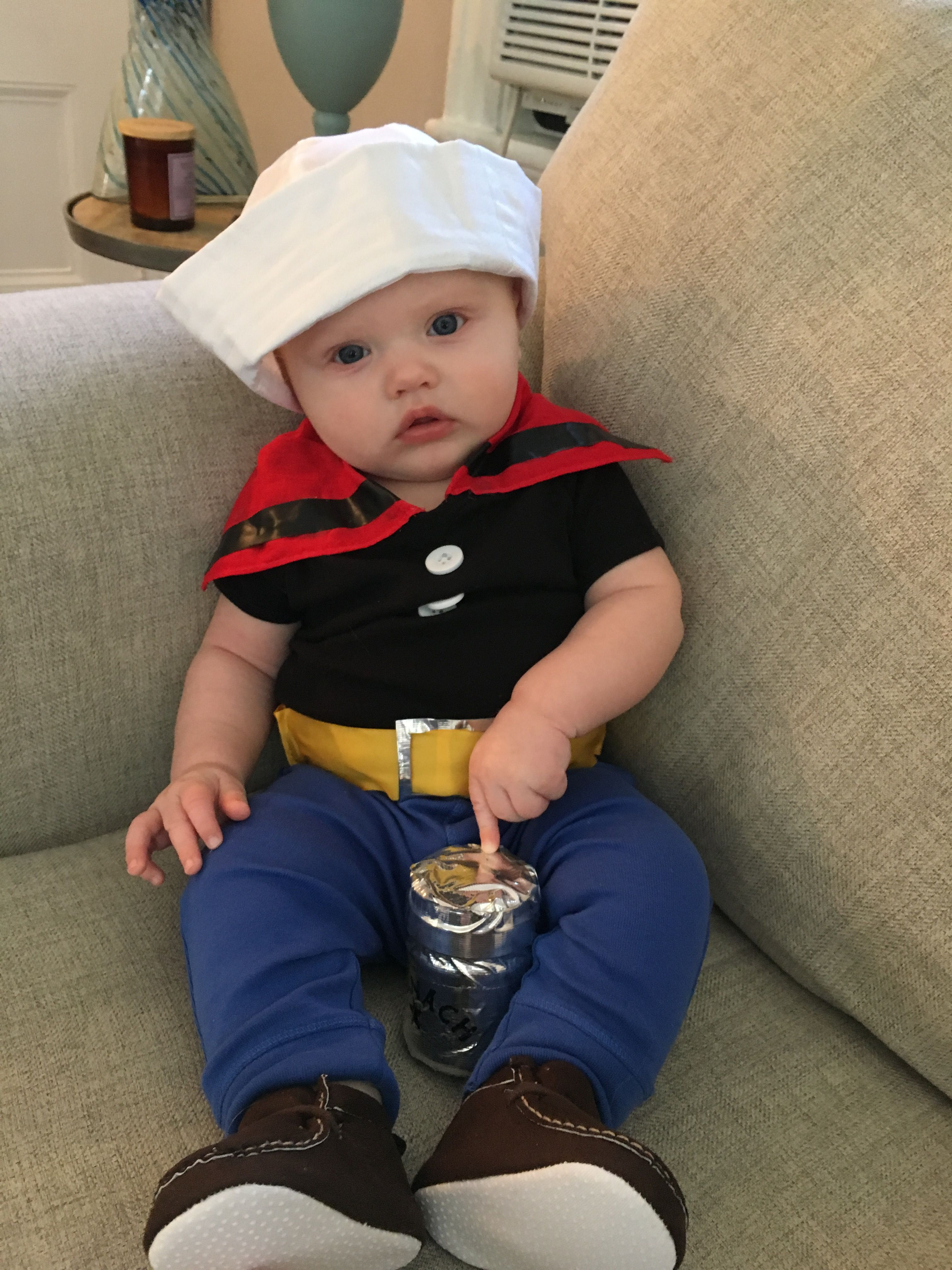 Baby/Infant Popeye Costume. Black onesie with red bandana buttons u0026 yellow ribbon  sc 1 th 259 & Baby/Infant Popeye Costume. Black onesie with red bandana buttons ...