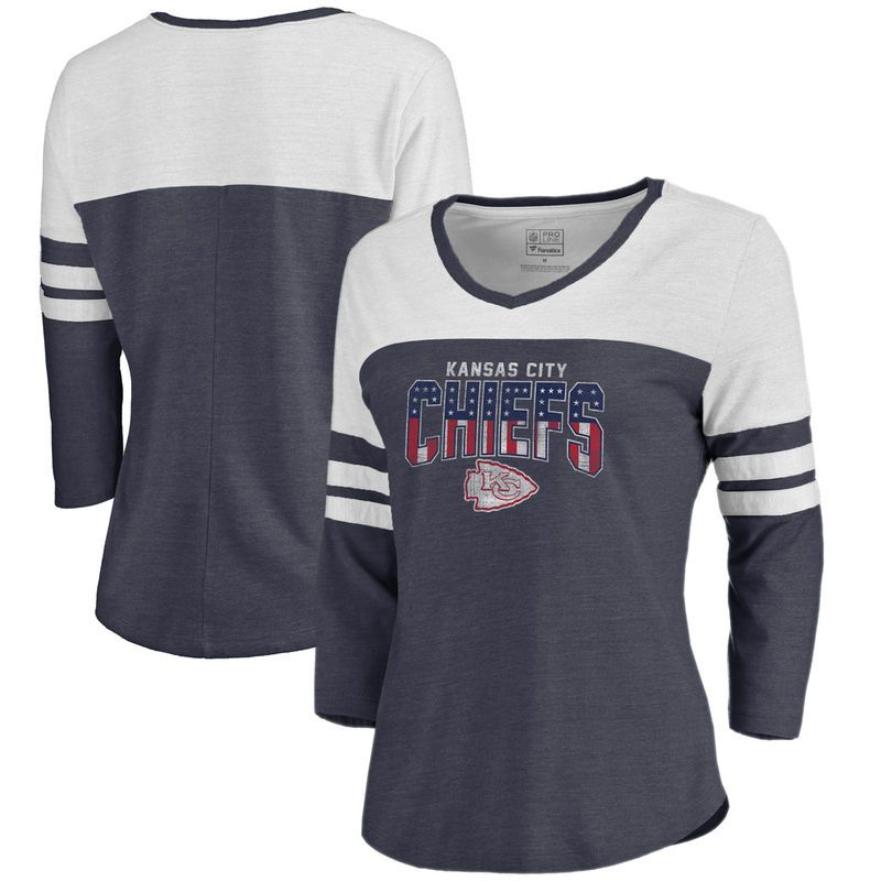 Kansas City Chiefs NFL Pro Line by Fanatics Branded Women s Freedom Color  Block 3 4 Sleeve Tri-Blend T-Shirt – Navy 6427e6278
