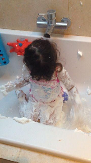 Foamy fun in the bath