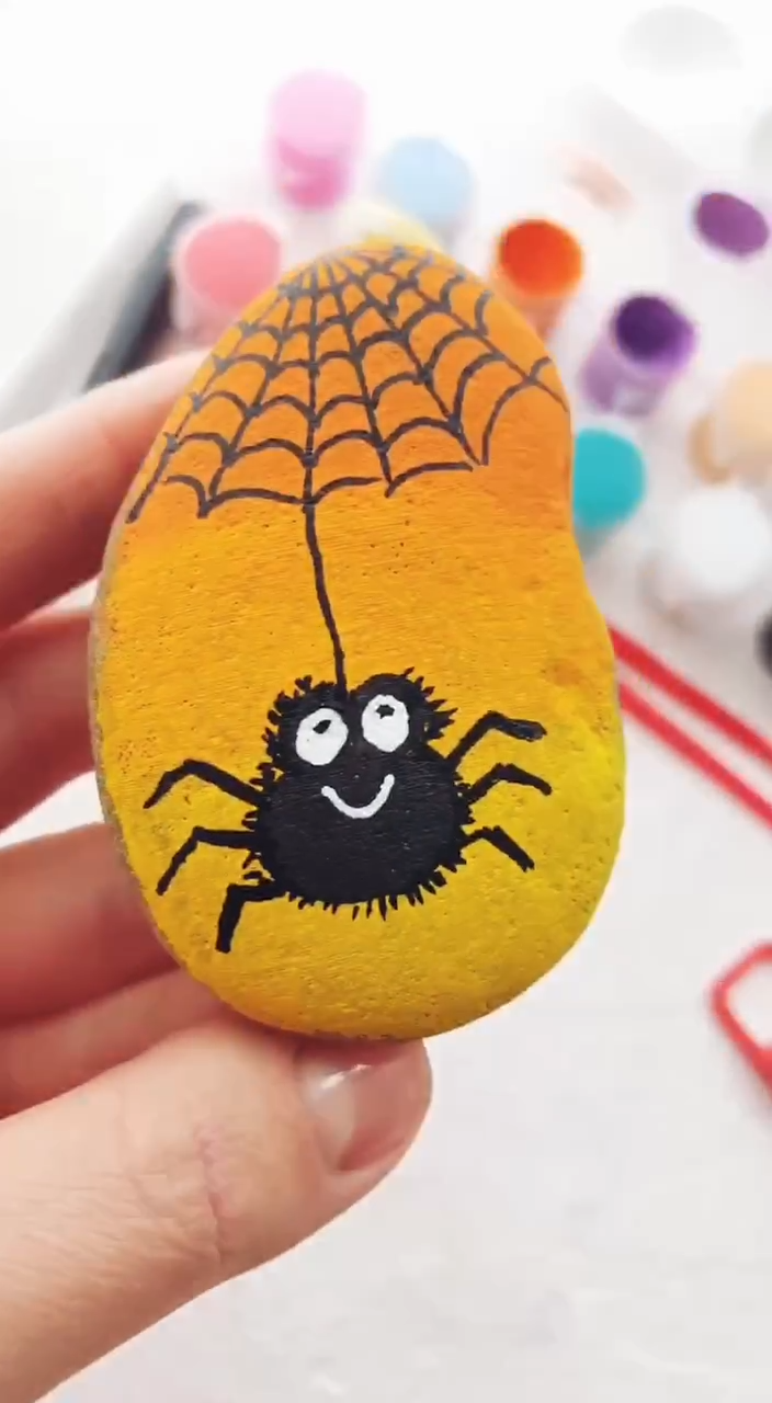 Cute rock painting tutorial with Spider