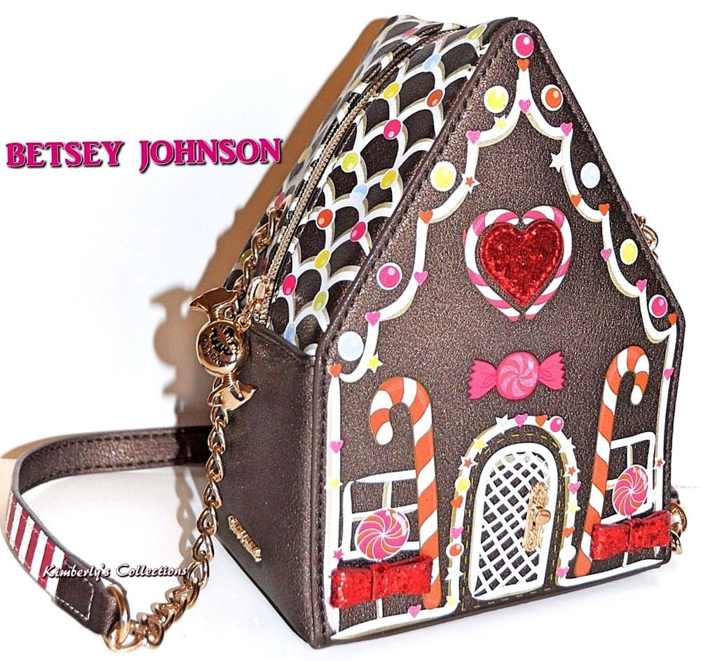 BETSEY JOHNSON Home Sweet Home Gingerbread House Crossbody Purse Bag NWT