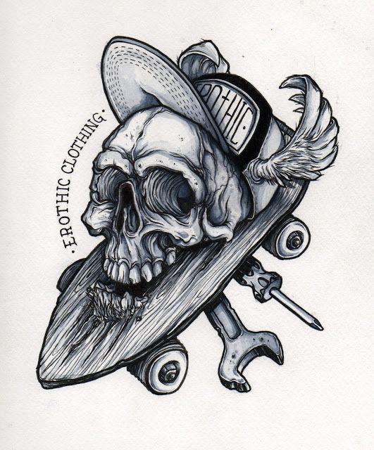 Oriol Torras Ilustracion Proceso Dibujo Calavera Encima De Skate Tatuaje De Patineta Tatuaje De Patin Tatuajes De Arte Corporal