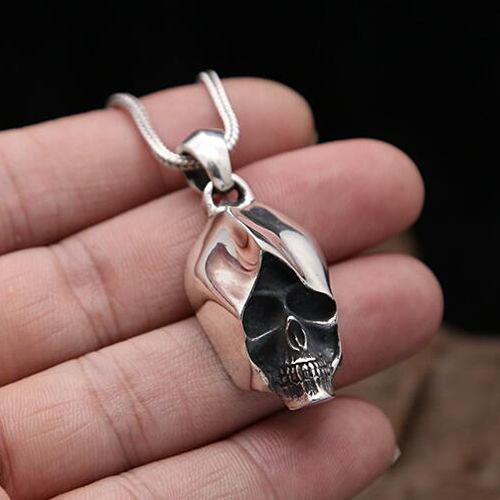 Mens sterling silver skull necklace with sterling silver wheat real 925 sterling silver vintage skull assassin pendant necklace jewelry for men or wonmen punk thai silver check this awesome product by going to the mozeypictures Image collections