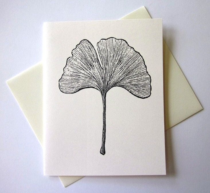Ginkgo Leaf Note Cards Stationery Set Of 10 By PetitePaperie