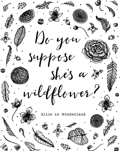 Printable Alice In Wonderland Quotes: Printable Art, Do You Suppose She's A Wildflower, Alice In